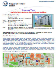 Flyer for the Buff State Tech building tour
