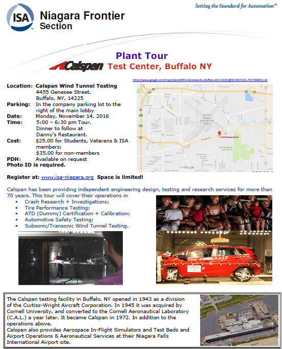 ISA NFS is hosting a tour at the Calspan Test Center
